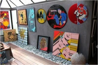 Galerie des oeuvres d'Eric Berger et collection de Vinyl de décoration peints
