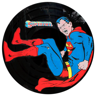 design de Superman sur grand Vinyl par artiste Eric Berger