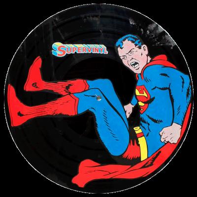 design de Superman sur grand Vinyl par artiste Eric Berger