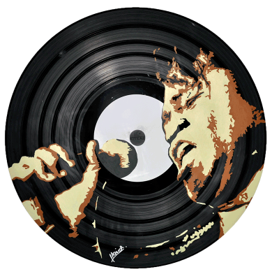 Vinyl customizeé en stickers avec un portrait de James Brown