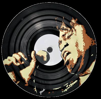 Vinyl customizeé en stickers avec un portrait de James Brown