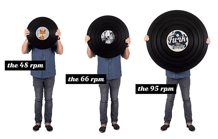 Trois tailles de vinyles présentées par le créateur de la Vinylerie