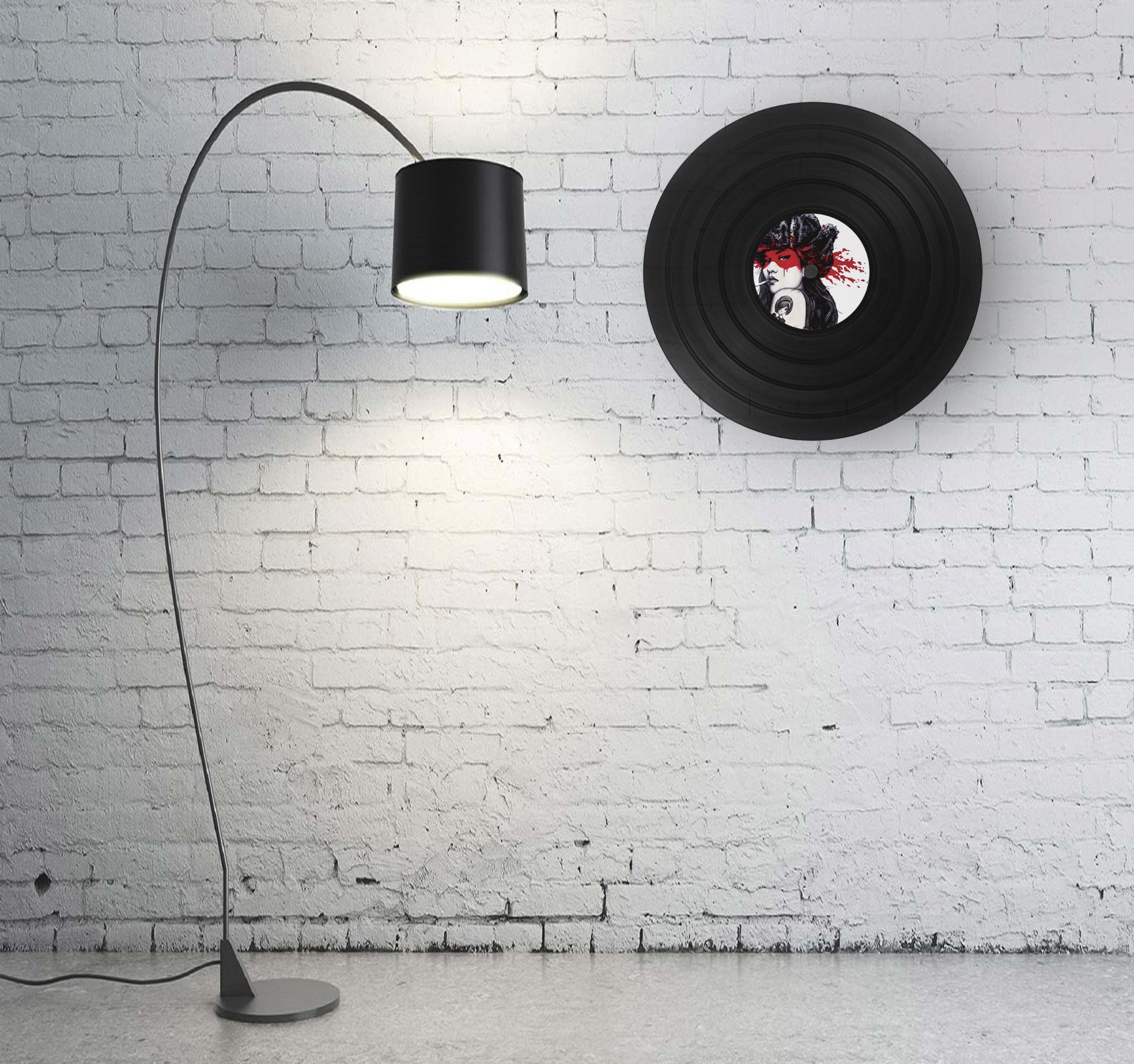 disque vinyle déco 66 tours avec lampe design