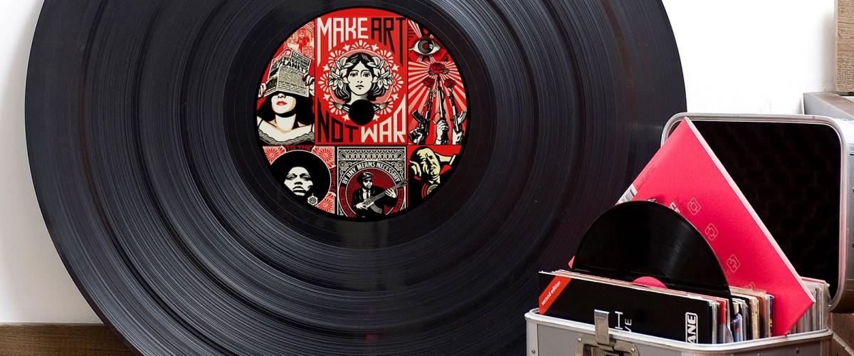Vinyle customs avec Fly Case Dj et vinyles pour soirée